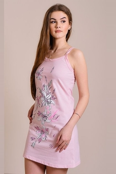Розовая сорочка на бретельках с цветами FIORITA