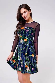 Бархатное платье с цветами Angela Ricci